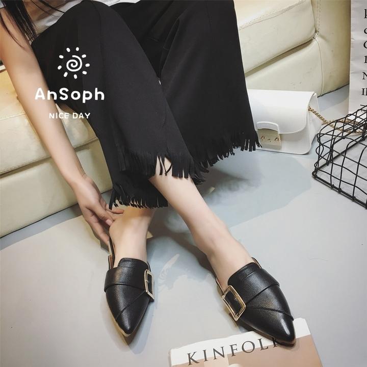 AnSoph 1 Pair Pointed Loafer Women Ladies Flat Sandal Casual Shoe Working Elegant Fashion Shoe black 35