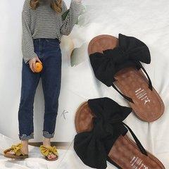 AnSoph 1 Pair Bow Sandal Women Ladies Flat Faux Suede Sandal Casual Shoe Beach Summer Flip Flop black 36