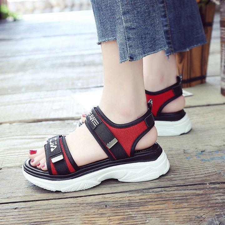 AnSoph 1 Pair Platform Sandal Women Ladies Flat Sandal Casual Shoe Elegant Fashion Plus Size red 40