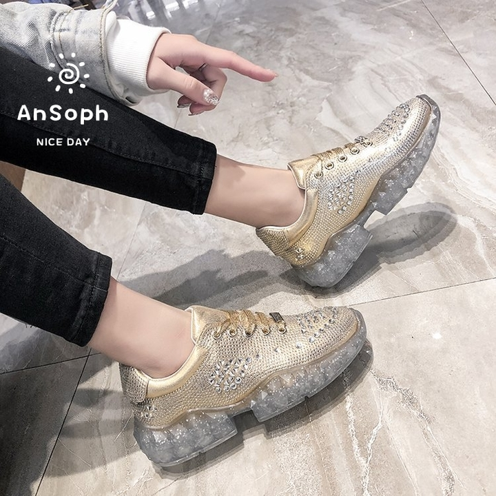 AnSoph 1 Pair Crystal Sneaker Women Ladies Diamond Heel Court Sport Casual Shoe Fashion Lace Up Shoe gold 35