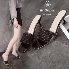 AnSoph 1 Pair Bling Sandal Women Ladies Heel Slipper Designer Glitter Casual Shoe Elegant Wedge Shoe black 35