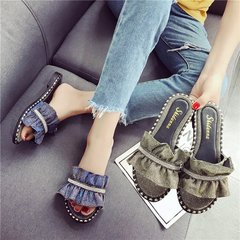 AnSoph 1 Pair Buckle Sandal Women Ladies Flat Jeans Summer Slipper Casual Shoe Elegant Fashion grey string 35