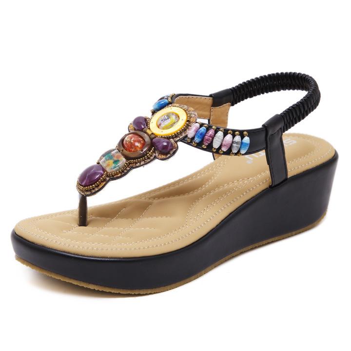 AnSoph 1 Pair Beads Sandal Women Ladies Wedge Sandal Cushion Casual Shoe Fashion Summer Plus Size black 35