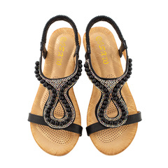 AnSoph 1 Pair Beads Sandal Women Ladies Wedge Cushion Sandal Casual Summer Beach Shoe Plus Size black 35