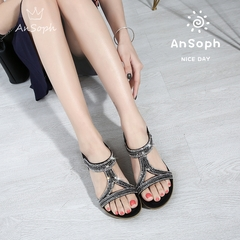 AnSoph 1 Pair Metalic Sandal Women Ladies Flat Strap Elastic Sandal Summer  Casual Shoe Plus Size black 36