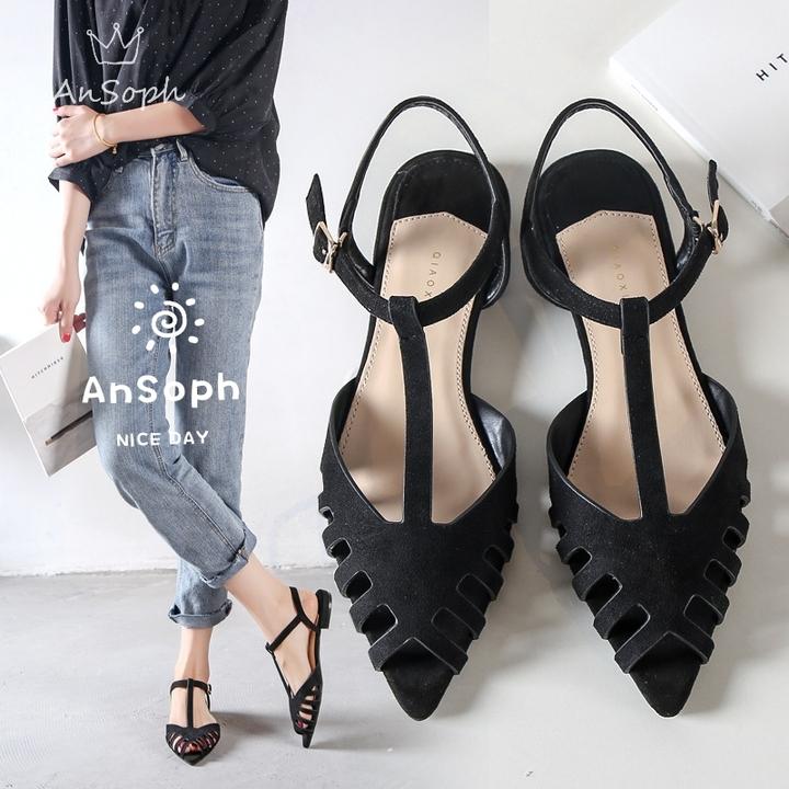 AnSoph 1 Pair Pointed Pump Women Ladies Flat Hallow Out Sandal Sexy Shoe Elegant Fashion Plus Size black 35