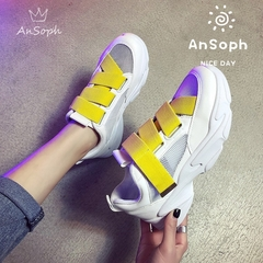 AnSoph 1 Pair Lace Up Sneaker Women Ladies Breathable Summer Casual  Shoe Fashion Sport Court Shoe white 36