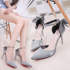 AnSoph 1 Pair Bow Pump Women Ladies Heel Pointed Party Shoe Elegant Satin Work Shoe grey 35
