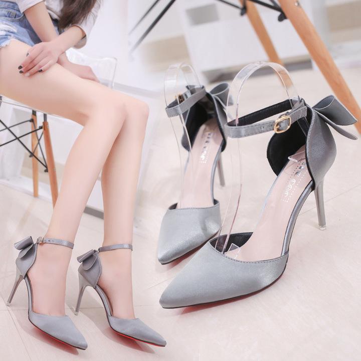 AnSoph 1 Pair Bow Pump Women Ladies Heel Pointed Party Shoe Elegant Satin Work Shoe grey 35
