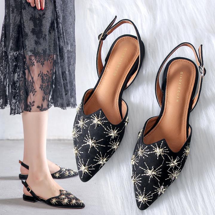 AnSoph 1 Pair Pointed Embroider Sandal Women Ladies Flat Tweekle Star Sandal Shoe Elegant Suede Plus black 35