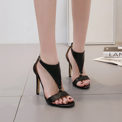 AnSoph 1 Pair Buckle Sandal Women Ladies High Heel Simplify Sandal Sexy Shoe Elegant Fish Nose Shoe black 35