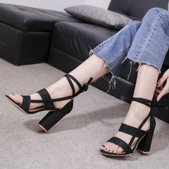 AnSoph 1 Pair Block Heel Sandal Women Ladies Heel Strap Summer Tie Up Shoe Elegant Plus Size black 35