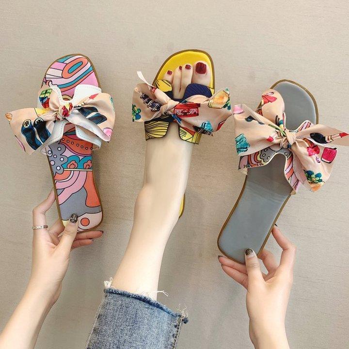 AnSoph 1 Pair Satin Sanfal Women Ladies Flat Floral Bow Sandal Summer Casual Shoe Elegant Slipper grey 35