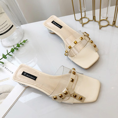 AnSoph 1 Pair Beads Sandal Women Ladies Wedge Heel Buckle Sandal Summer Shoe Elegant Rivet Slipper beige rivet 35