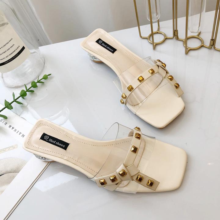 AnSoph 1 Pair Beads Sandal Women Ladies Wedge Heel Buckle Sandal Summer Shoe Elegant Rivet Slipper beige rivet 35