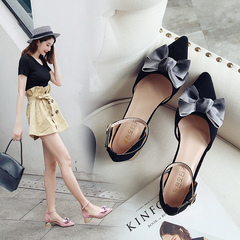 AnSoph 1 Pair Bow Pump Women Ladies Elegant Court Faux Suede Shoe Pointed Shoe Summer Casual Shoe black 35