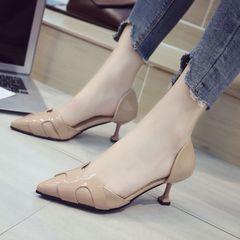 AnSoph 1 Pair Pointed Pump Women Ladies Thin Heeled Work Shoe Patent Elegant Pump Shoe H Shape Shoe nude 35