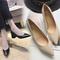 AnSoph 1 Pair Cork Heel Pump Women Ladies Wedge Pump Work Shoe Patent Elegant Shoe Pointed V Shape black 35