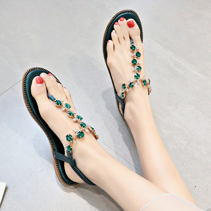AnSoph 1 Pair Beads Sandal Women Ladies Casual Summer Flip Flop Shoe Beach Slippper Flat Sandal black 35
