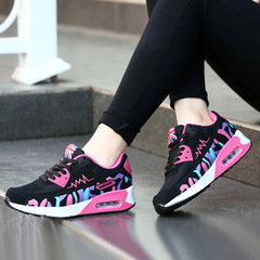 AnSoph 1 Pair Patchwork Sneaker Women Ladies Breathable Cushion Sport Casual Shoe Runing Athletic fushia/black 35