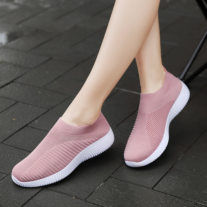 AnSoph 1 Pair Fly Knit Sneaker Women Ladies Sock Running Shoe Comfortable Shoe Plus Size pink 43