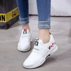 AnSoph 1 Pair Embroider Seanker Women Ladies Lace Up Sport Running Shoe Flower Athletic Sneaker white 35