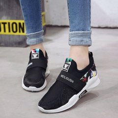 AnSoph 1 Pair Embroider Seanker Women Ladies Lace Up Sport Running Shoe Flower Athletic Sneaker black 39