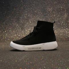 AnSoph 1 Pair Sock Sneaker Women Ladies Breathable Lace Up Sport Running Shoe Fly Knit Sneaker black 35