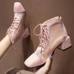 AnSoph 1 Pair Pointed Boots Women Ladies Block Heel Patchwork Lace Up Bootie Ins Shoe Elegant pink 36