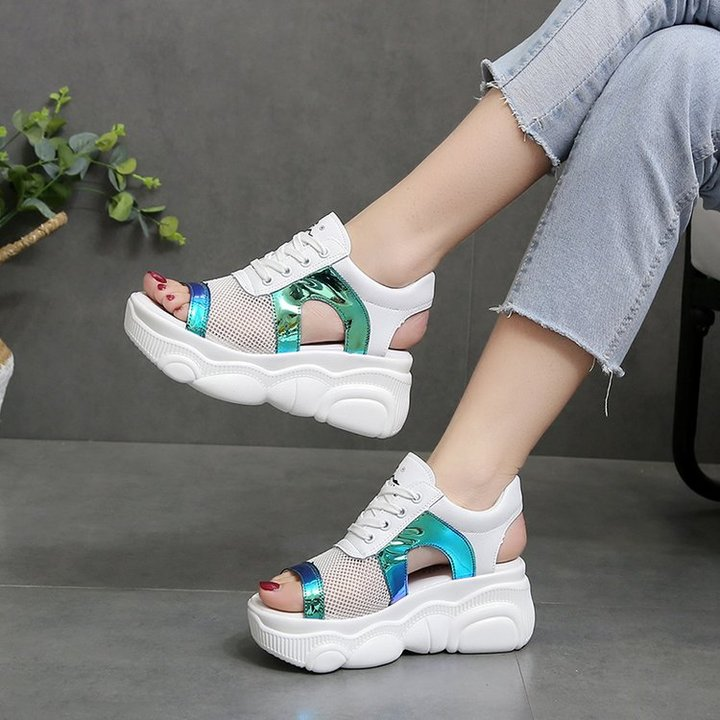 AnSoph 1 Pair Platform Sneaker Women Ladies Patcwork Sequin Sandal Cushipn Sunmer Casual Shoe blue 35