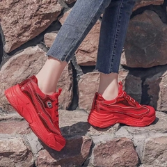 AnSoph 1 Pair Shining Sneakner Women Ladies Patent Mesh Sport Shoe Casual Sneaker Breathable Fashion red 40