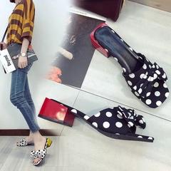 AnSoph 1 Pair Bow Sandal Women Ladies Block Heel Dot Slipper Summer Flip Flop Casual Shoe Elegant black 35