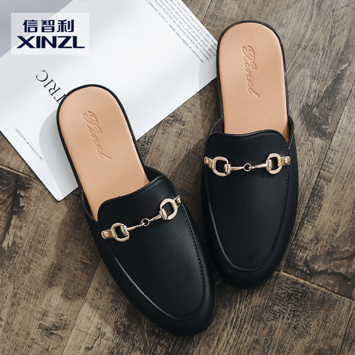 AnSoph 1 Pair Buckle Loafer Women Ladies Flat PVC Sandal Casual Shoe Elegant Fashion Plus Size black 36