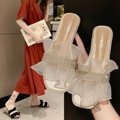 AnSoph 1 Pair Dimond Flower Sandal Women Ladies Flat Brand Casual Shoe Elegant Lace Plus Size white 40