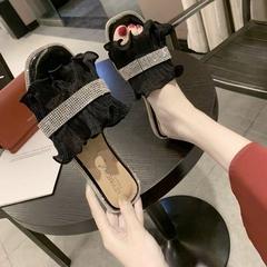 AnSoph 1 Pair Dimond Flower Sandal Women Ladies Flat Brand Casual Shoe Elegant Lace Plus Size black 36
