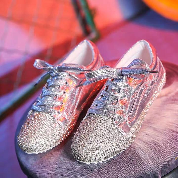 AnSoph 1 Pair Bling Shoe Women Ladies Flat Cracker PU Sneaker Ins Casual Shoe Fashion Sport Lace Up silver 39