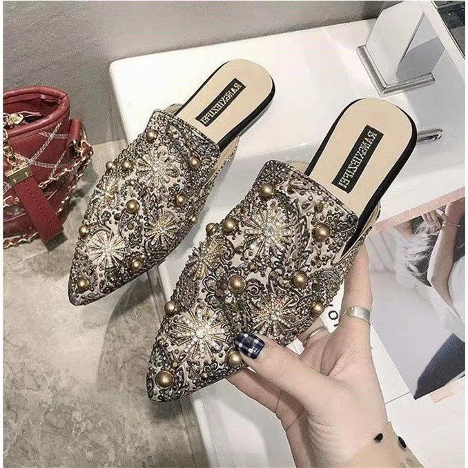 AnSoph 1 Pair Beads Mules Women Ladies Flat Sandal Casual Summer Shoe Elegant Fashion Slipper apricot 35