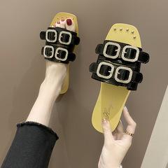 AnSoph 1 Pair Rip Sandal Women Ladies Flat Slipper Flip Flop Summer Shoe Elegant black 36