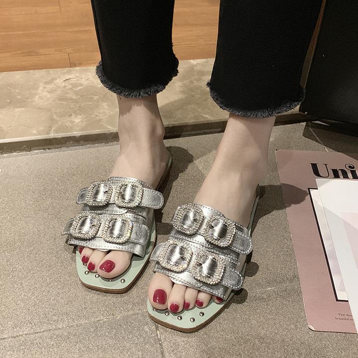 AnSoph 1 Pair Rip Sandal Women Ladies Flat Slipper Flip Flop Summer Shoe Elegant silver 40