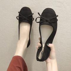 AnSoph 1 Pair Bow Ballerinas Women Ladies Flat Suede Work Casual Shoe Elegant Fashion Plus Size black 36