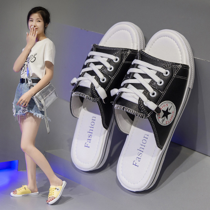 AnSoph 1 Pair Lace Up Sneaker Women Ladies Flat Sandal Casual Sport Shoe Fashion Canvas black 36