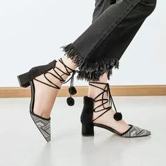 AnSoph 1 Pair Design Pompom Fur Balls Flat Dress Shoes Woman Pumps  Finge Sandals Ladies Hot Sell black 36