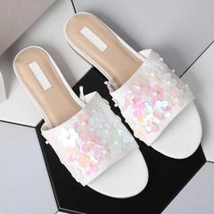 AnSoph 1 Pair Slide Slipper Women Ladies Flat Sequin Flip Flop Sandal Casual Shoe Elegant Fashion pink 35