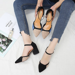 AnSoph 1 Pair Summer Women Shallow Colorblock Shoes Pointed Pumps Dress Heels Comfortable Shoes black 35