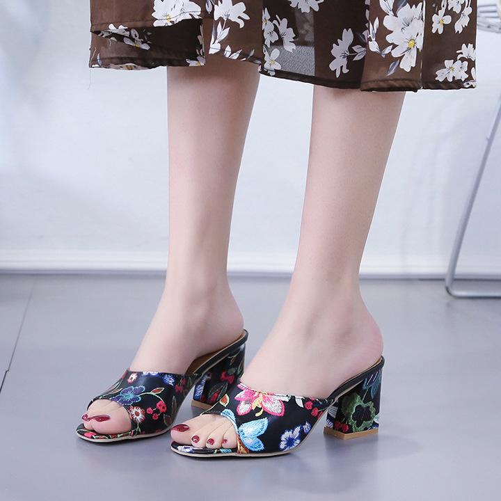 AnSoph 1 Pair Floral Sandal Women Ladies Heel Slide Slipper Femal Summer Shoe Dress Sandal black 35