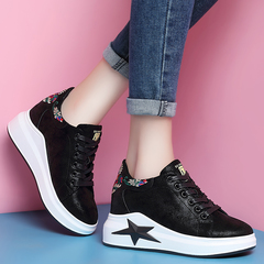 AnSoph 1 Pair Printed Casual Shoes Women Leather Fashion Lace-up Ladies Sneakers Women Casual Shoes black 35
