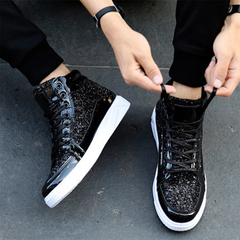 AnSoph 1 Pair Casual Women Shoes Bling Fashion Sliver Sneakers Women Lace-up Ladies Flats Shoes black 35