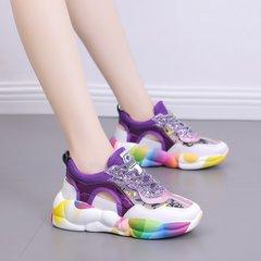 AnSoph 1 Pair Women Sneakers Ladies Comfortable Shoes Sequins Graffiti Breathable Platform Shoes purple 35