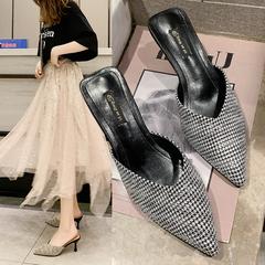 AnSoph 1 Pair Women Mules Pointed Heeled Femal Pumps Elegant Sandal Women Slip On Shoes black 35