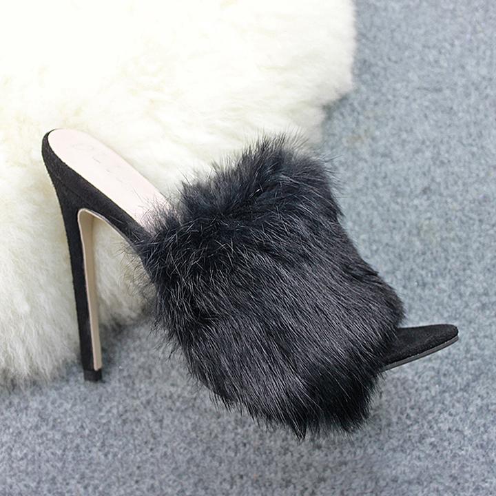 AnSoph 1 Pair Women's Sandals Ladies Heel Candy Fur Luxury Sexy Slippers Heel Shoe black 35